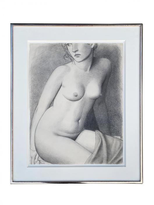 Nude Female Charcoal Signed Jonathan Farr in Original Frame by HarveysonBeverly