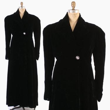 Vintage 30s Velvet COAT / 1930s - 40s Black Velvet Puffed Sleeve Long Evening Opera Coat L by LuckyDryGoods