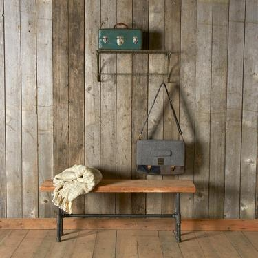 Modern Industry Reclaimed Wood Bench with pipe legs.  Choice of size, thickness and finish. by UrbanWoodGoods