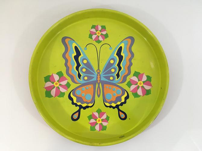 Vintage Butterfly Flower Metal Drink Tray Plate Retro Round Mid-Century Cheinco J. Chein USA Green Pink Blue Barware Serving by CheckEngineVintage