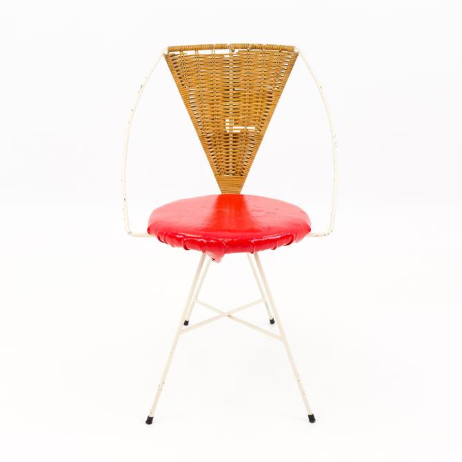 Arthur Umanoff Mid Century Modern Iron and Wicker Vanity Chair by ModernHill