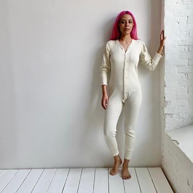 Vintage Off White Cotton Union Suit Long Underwear XS by milkandice