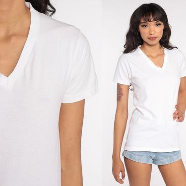 White V Neck Shirt 80s Tee Shirt Single Stitch Shirt Plain Tshirt Vintage Tee Cotton Poly T Shirt 1980s Small by ShopExile