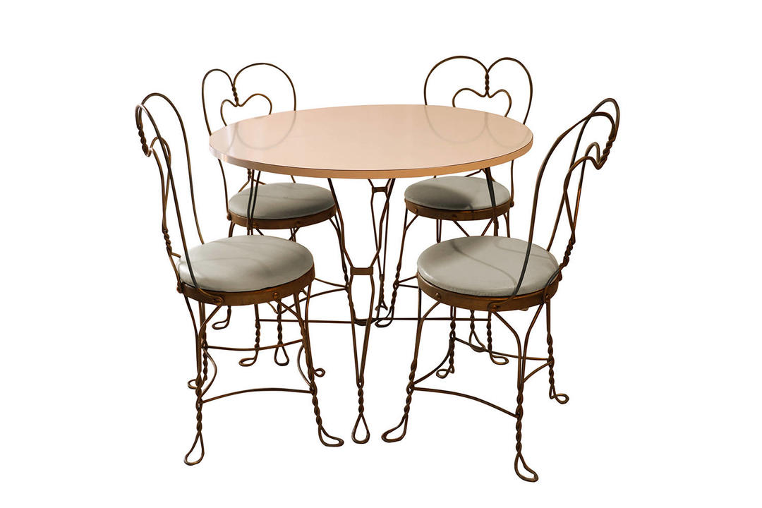 Vintage Wrought Iron Ice Cream Parlor Set By