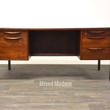 Jens Risom Walnut Double Bank Desk by mixedmodern1