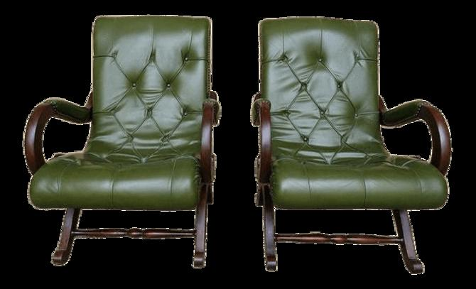 Peachy Set Of Two Vintage Green Leather Chesterfield Library Creativecarmelina Interior Chair Design Creativecarmelinacom