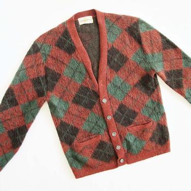 Vintage 1950s Mohair Wool Cardigan M L - 50s Plaid Grandpa Grunge Cardigan - Rust Red Green Holiday Cardigan Sweater by MILKTEETHS