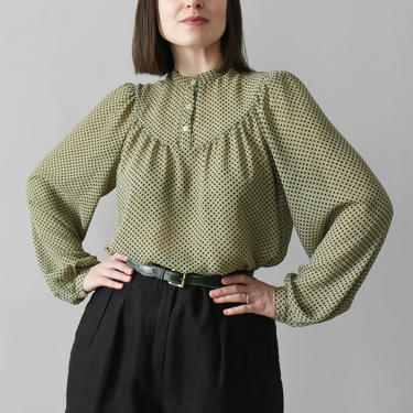 vintage sage dot print blouse with balloon sleeves / M by ImprovGoods