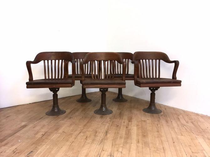 Antique Gunlocke Swivel Chair Industrial Jury Walnut Lawyer Bank Pedestal Barber Reclining by 330Modern