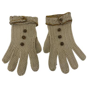 30s Gloves Tan Crochet with Bullion Buttons
