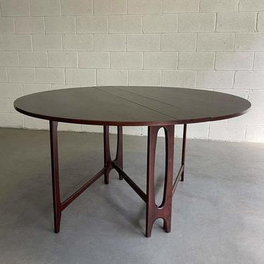 Mid Century Modern Round Teak Drop Leaf Dining Table