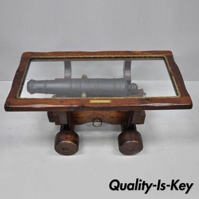 Vintage USS Constitution Simulated Wooden Naval Cannon Coffee Table Display