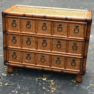 Wonderful vintage bamboo and rattan dresser / chest by HolbrookBazaar