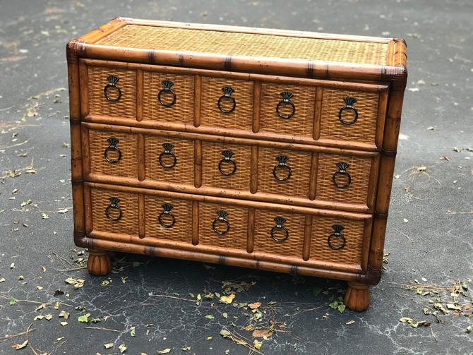 Wonderful vintage bamboo and rattan dresser / chest by HolbrookBazaar