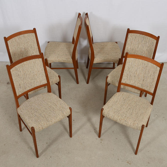 Set of 6 Tall Beige Upholstered Danish Dining Chairs