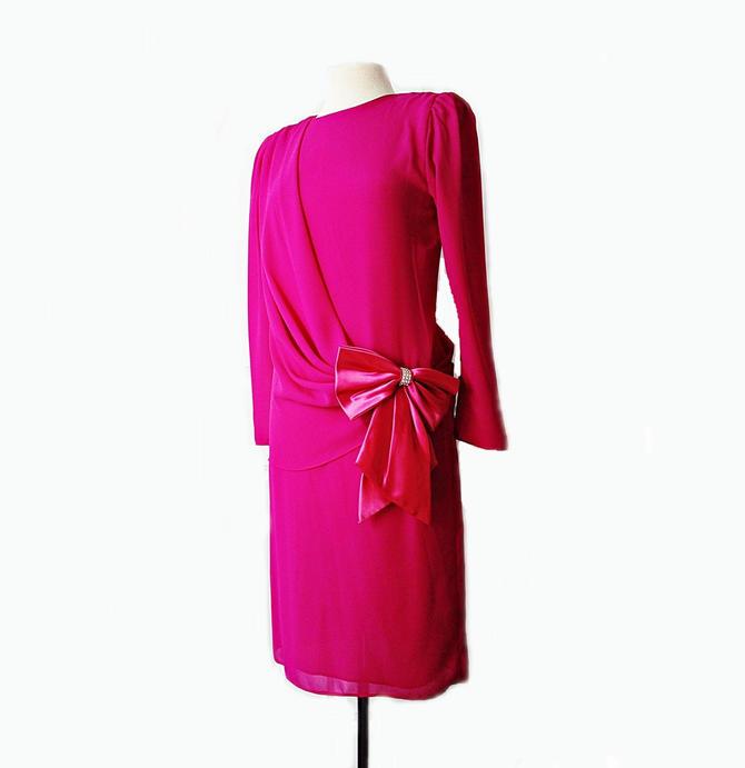 b7b99d6f7c861 Vintage 80s bubblegum party dress/ purple pink prom/ long chiffon sleeves/  evening cocktail