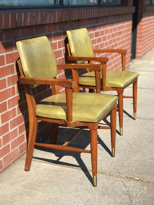Free Shipping Within US - Vintage Leather Mid Century Arm Chairs Set of 2 by BigWhaleConsignment