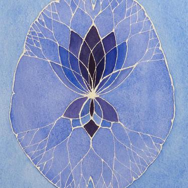 Purple and Blue Lotus Brain  -  original watercolor painting - neuroscience art by artologica