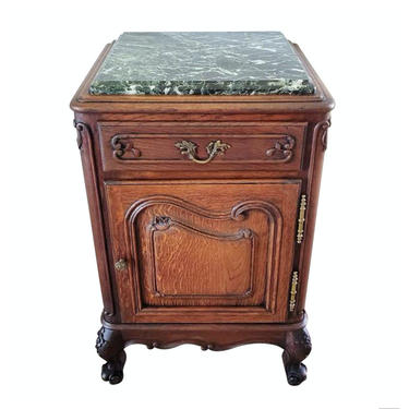 Late 19th Century French Provincial Louis XV Style Carved Oak Verde Marble Bedside Nightstand Cabinet or Side Table, circa 1890 - Restored - by LynxHollowAntiques