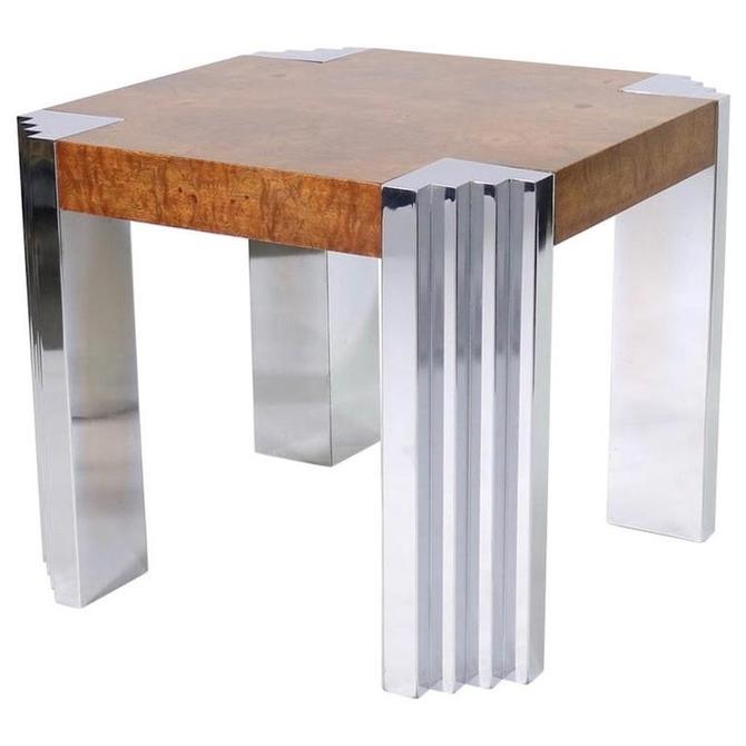 Leon Rosen for Pace Art Deco Style Modern Burl Veneer and Steel Side Table