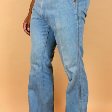 Vintage 70s Levis Blue Bell Bottom Boot Leg Flair Jeans 34x32 35x32 36x32 by MAWSUPPLY