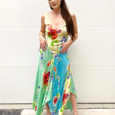 Watercolor Floral Maxi Scarf Dress