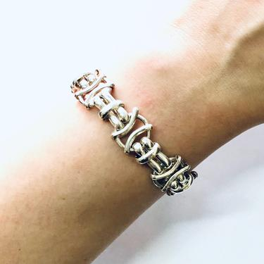 Vintage Bracelet, Silver Bracelet, Chain Bracelet, Link Bracelet, Vintage Jewelry, Unique Jewelry, Barbed Wire Design, Toggle Closure, 925 by shopGoodsVintage