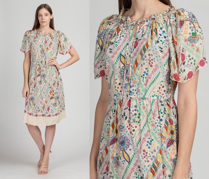 Vintage Silk Floral Flutter Sleeve Dress - Medium | Boho Fitted Waist Midi Sundress by FlyingAppleVintage