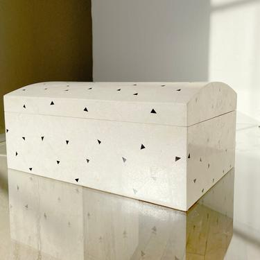 Travertine Box Jewelry Chest Maitland Smith Inlaid Marquetry Onyx Marble Decor Stone by 330Modern