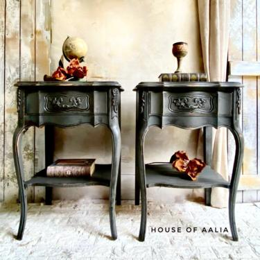 French Provincial Charcoal Gray Vintage Nightstands | Shabby Chic Nightstands | French Country Tables | Cottage Decor by HouseofAalia