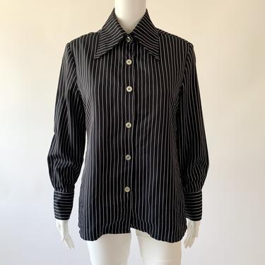 Black Pinstripe Flag-Collar Shirt
