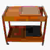 Danish Modern Teak Bar Cart with Versatile Storage