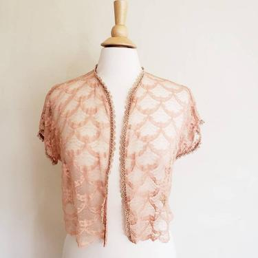 1930s Bed Jacket Pink Peach Lace Crochet Trim / 30s Sheer Top Cropped Rose Gold Shabby Chic Blouse / Med / Evangeline by RareJuleVintage