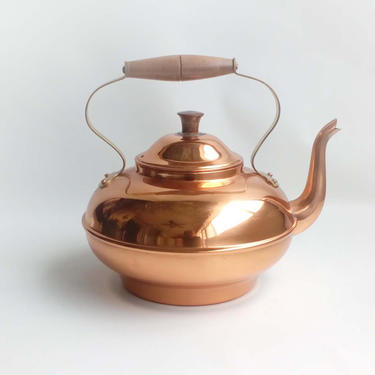 Vintage copper kettle Made in Portugal COPRAL Tin lined tea pot with wooden handle Rustic kitchen Cottage core by BelleCosine