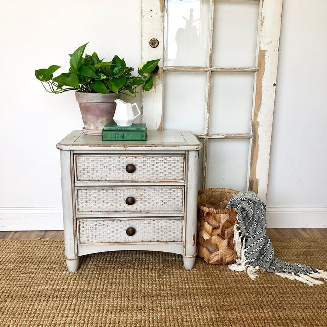 Rustic Farmhouse End Table or Bedside Nightstand by VintageHipDecor