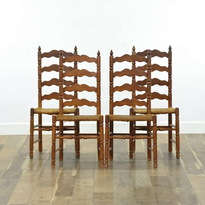 Set Of 4 Carved Shaker Style Ladder Back Dining Chairs