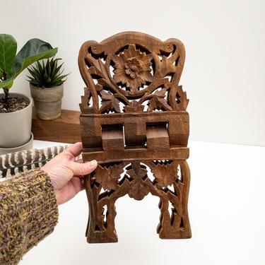 Vintage Carved Wood Book Stand   Wooden Book Display   Ornate Folding Book Holder   Boho Decor by PebbleCreekGoods