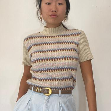 70s ribbed knit mock neck sweater tee / vintage cotton oatmeal pastel striped ribbed knit short sleeve mockneck sweater | S by RecapVintageStudio