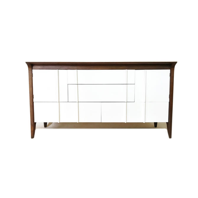 Vintage Modern Buffet In Wood and White by minthome