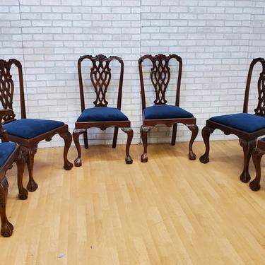 Antique Hand Carved Mahogany Chippendale Eagle Claw Dining Chairs - Set of 6