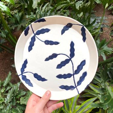 Botanical Ceramic Dinner/Dessert Plates - 8.75 inches - Midnight Blue on White Handmade Dinnerware by BirdstoneCeramics