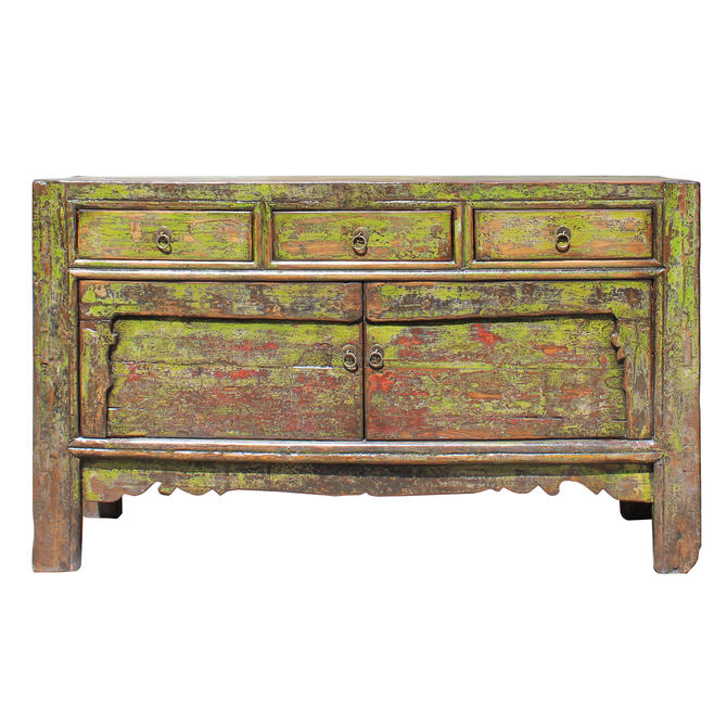 Chinese Distressed Lime Green 3 Drawers Sideboard Table Cabinet cs5195E by GoldenLotusAntiques