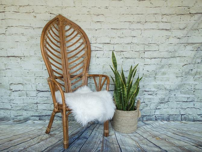 SHIPPING NOT FREE!!! Vintage Island Style Bamboo/Rattan  High Back Leaf Chair by WorldofWicker