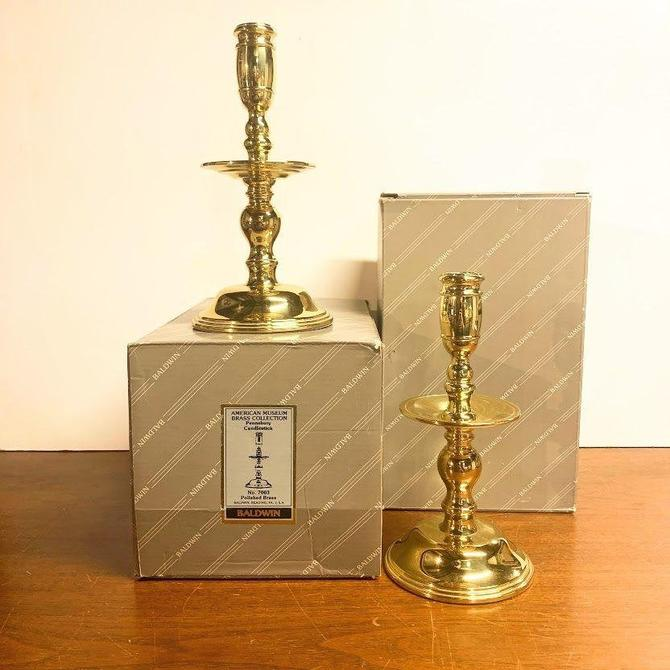 """Vintage Baldwin Brass Pennsbury Candlesticks American Museum Collection 7003 8 1/2"""" Pair by OverTheYearsFinds"""