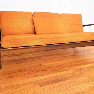 Mid Century lb Kofod - Larsen for Selig Wood Lounge Sofa by ProRefineFurnishings