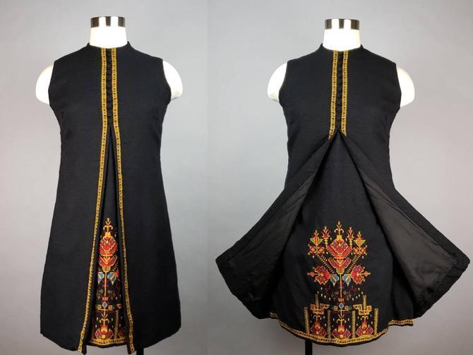 1960s Embroidered Folk Dress, Vintage Black Boho Shift Dress, Narodna Radinost Yugoslovia Serbian Needlepoint by SlimeWarpVintage