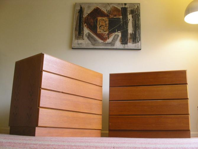"Pair (2) Danish Modern Short 34"" Teak Dressers / Nightstands From Vitre of Denmark, Bedroom Storage Chest TEAK MCM Mid Century by RetroSquad"