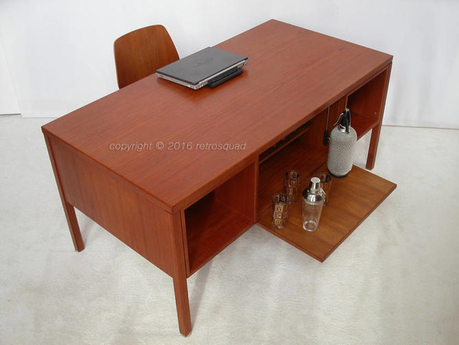 "Danish Modern Teak Executive Desk / Bar ""Model 77"" by Gunni Omann for Omann Jun Mobelfabrik"