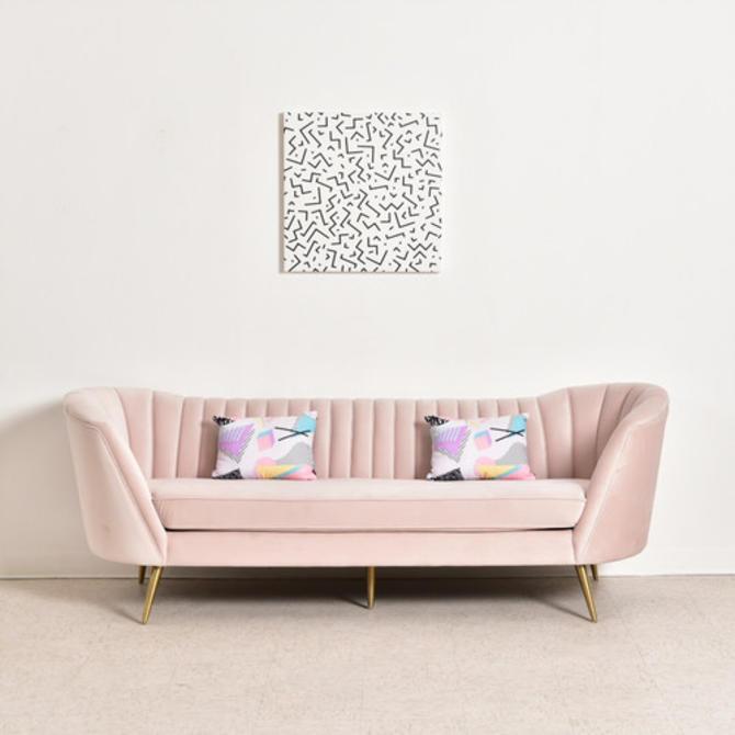 """""""Gwen"""" Pink Velvet Sofa"""