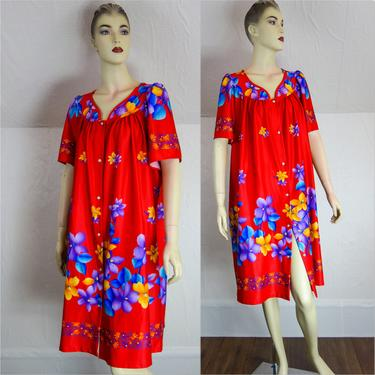 Vintage one size fits many nightgown, bath robe, kaftan or muumuu floral polyester beach cover up Large 2X XXL plus size sun dress by forestfathers